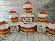 3 Tier Diaper Cake And Sets - Santa Baby Gold And Red Christmas Theme