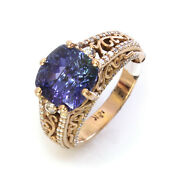 5.5 Ctw Natural Tanzanite And Diamond Solid 14k Rose Gold Engraved Engagement Ring