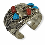 Navajo Pawn Turquoise And Coral Bear Bracelet - Native American