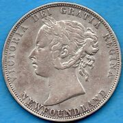 Canada Newfoundland 1885 50 Cents Fifty Cents Silver Coin - Very Fine Cleaned