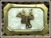 Beautiful High Back Saddle Nickel Silver 1940s W/ 2 Red Sets Cowboy Belt Buckle