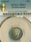 1943-c Newfoundland 10cents Coin Pcgs Graded Ms-63