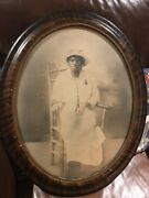 African American Black Woman Rare Oval Framed Andnbspconvex Bubble Glass Photograph