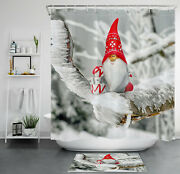 71 Christmas Gnome Elf Gifts Snow Tree Shower Curtain Bathroom Accessory Sets