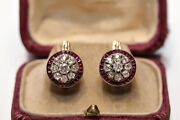 Antique Original 14k Gold Natural Diamond And Caliber Ruby Decorated Earring