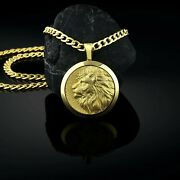 Handmade Yellow 14k Gold Lion King Medallion Personalized Menand039s Necklace