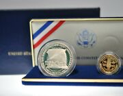 1987 Us Constitution Two Coin Set Gold 5 Liberty Silver Proof Dollar .2419 Agw
