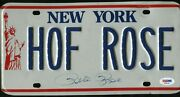 Pete Rose Signed Nys Cooperstown Issued Hof Rose License Plate Rare Psa Coa