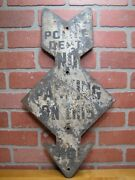 Police Dept No Parking On This Side Arrow Sign Original Old Steel Street Road Ad
