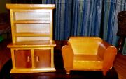 Vintage Midcentury Wooden Doll House Furniture Chair And Hutch W/ Working Doors