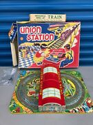 Vintage Marx Wind-up Tin Litho Union Station With The Original Boxes