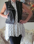 New Theory Black Lambskin Leather Lined Dress-y Vest It 40,us 6/xs-s.