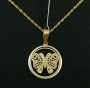 Pendant And Chain Gold 18k. Butterfly With Enamel And Pull Gold White