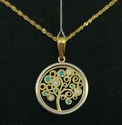 Pendant And Chain Gold 18k.Árbol Of Life With Enamel And Pull Gold White