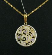 Pendant And Chain Gold 18k. Flowers With Enamel And Pull Gold White