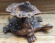 Brass Turtles Shape Oil Lamps Aarti Puja Diya Antique Finish Candle Stand Decor1
