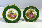 Pair Limoges Miniature Plates Green With Gold Trim Stands Incl.