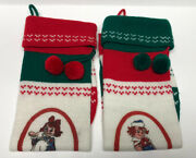 """Vintage Lot Of 2 Knitted Yarn Christmas Stockings Raggedy Ann And Andy 26"""", 1980"""