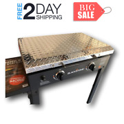 28-inch Griddle Cooking Lid Storage Cover Diamond Plate Aluminum Wood Handle New