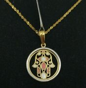 Pendant And Chain Gold 18k. Hands Of Fatima With Enamel And Pull Gold White