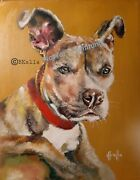 Custom Portrait 11x14 Original Oil Painting By Artist Dog Pitbull Terrier Puppy