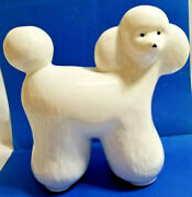 Abstract Pottery Poodle White Dog Ceramic Collectible Statue Figurine 9 Tall