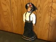 Antique Wax Lady Doll Paper Mache Legs Compo Arms Glass Eyes Mohair Wig