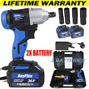 Cordless Electric Impact Wrench Rattle 1/2and039and039 Driver Gun 2pc Battery And 4 Stocket