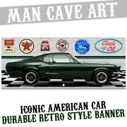 Classic Green Mustang Fastback Movie Car Highland Banner Art Wall