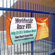 Vbs Vacation Bible School 2021 Custom Vinyl Banner Full Color Worldwide Race