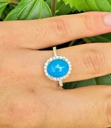 Natural Sleeping Beauty Turquoise And Diamonds Ring Pure Solid 10k Gold Handmade