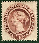 Canada Newfoundland Qv Stamp Sg.28 12c Red-brown 1865 Lmm Cat Andpound650 Gblue10