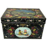 Fine Vintage Rosie And Jim Style Hand Painted Metal Canal Boat Chest Coffee Table