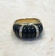 Vintage 18k Black Onyx And Diamond Ring Signed Carvin French Jewelers