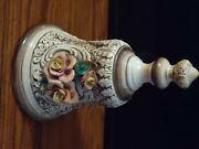 Rare Capodimonte Bell Applied Flowers Artist Signed Older One Large Size