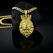 Handmade Yellow 14k Gold Majestic 3d Lion King Men's Necklace With Cuban Chain