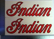 Set Of 2 Vintage Indian Motorcycles Decals. 3 1/2 X 10 Inches. Nos Stickers