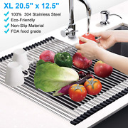 New Extra Large Foldable Roll Up Over The Sink Dish Drying Rack Stainless Steel