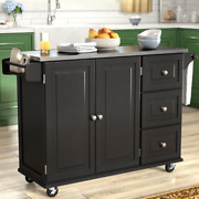 Black Rolling Kitchen Cart Mobile Storage Island Stainless Steel Top Cabinet Dra