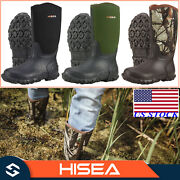 Hisea Men's Boots Mid-calf Neoprene Rubber Insulated Rain Snow Muck And Mud Boots