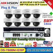 Hikvision 4k Cctv System 8ch Nvr 8mp Dome Ir Security Camera Ds-2cd2185fwd-i Lot