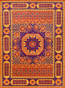 Village Mamluk Rug 10and039x14and039 Orange/blue Hand-knotted Wool Pile