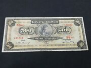 Greece 500 Drachmai 1932 Print Error Color
