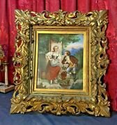 Antique Victorian Porcelain Plaque Couple At A Well Carved Gilt Wood Frame
