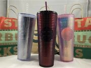Starbucks 2020 Holiday Bundle Pink Silver Plum Grid Disco Cold Cup Tumbler