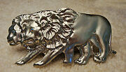 Belt Buckles For Women Twin Lions Brushed Silver Pewter Color   Vintage Reduced