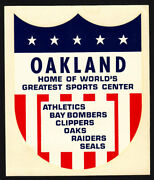 Oakland California Rare 1968 Decal A's Clippers Oaks Raiders Seals Bay Bombers