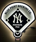 """Blue Point Pinstripe Pils New York Yankees Led Beer Sign 22x22"""" Brand New In Box"""