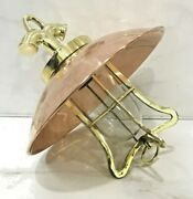 Nautical Vintage Style Hanging Bulkhead Brass And Copper Shade New Light Lot 5