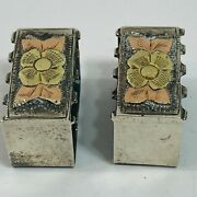 Sterling Silver .925 And 14k Gold Belt Loops Keepers 3/4 Floral 12g
